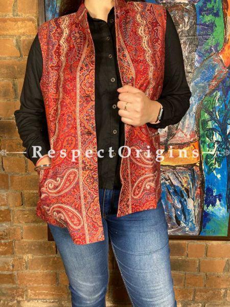 Red Floral Design Formal Ladies Designer Detailing Jamavar Jacket in cotton silk Blend; Silken Lining; RespectOrigins.com