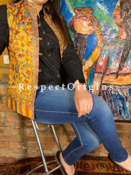 Yellow Floral Design Formal Ladies Designer Detailing Jamavar Jacket in cotton silk Blend; Silken Lining; RespectOrigins.com