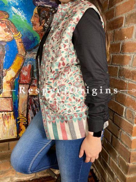 Cream Floral Design Formal Ladies Designer Detailing Jamavar Jacket in Cotton Silk Blend; Silken Lining; RespectOrigins.com