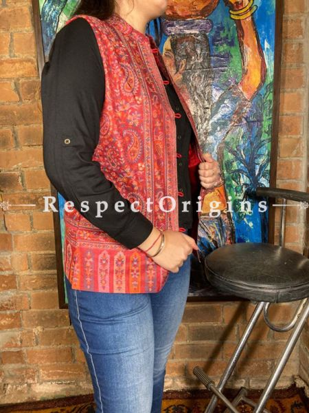 Beautiful Red Floral Design Formal Ladies Designer Detailing Jamavar Jacket in Cotton Silk Blend; Silken Lining; RespectOrigins.com