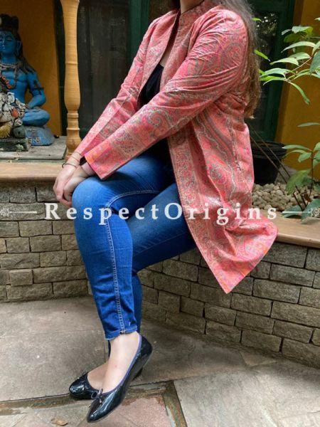 Beautiful Floral Design Formal Ladies Designer Detailing Peach Jamavar Jacket in cotton silk Blend; Silken Lining; RespectOrigins.com