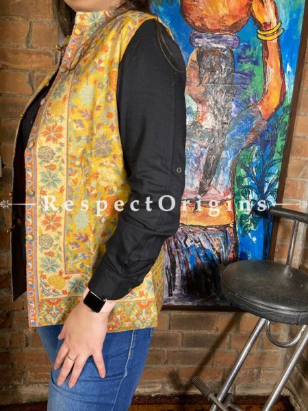 Exquisite Yellow Floral Design Formal Ladies Designer Detailing Jamavar Jacket in Cotton Silk Blend; Silken Lining; RespectOrigins.com
