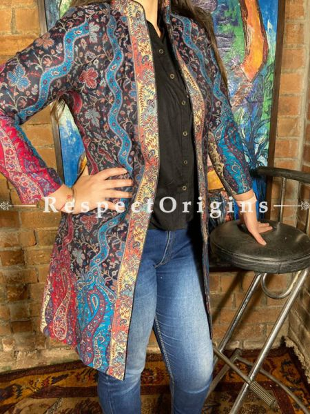 Classy Multicoloured Floral Design Formal Ladies Designer Detailing Jamavar Jacket in Cotton Silk Blend; Silken Lining; RespectOrigins.com