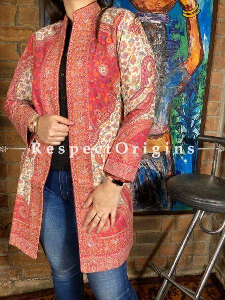 Pleasing Red Floral Design Formal Ladies Designer Detailing Jamavar Jacket in Cotton Silk Blend; Silken Lining; RespectOrigins.com