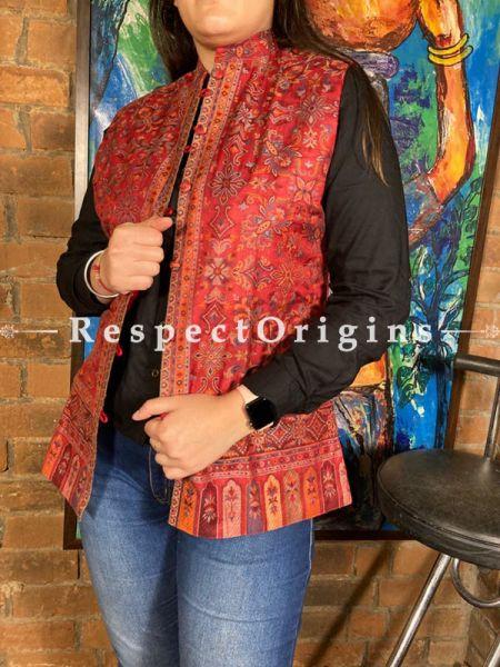 Eligant Floral Design Formal Ladies Designer Detailing Jamavar Red Jacket in Cotton Silk Blend; Silken Lining; RespectOrigins.com