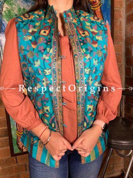 Radiant Blue Floral Design Formal Ladies Designer Detailing Jamavar Jacket in Cotton Silk Blend; Silken Lining; RespectOrigins.com
