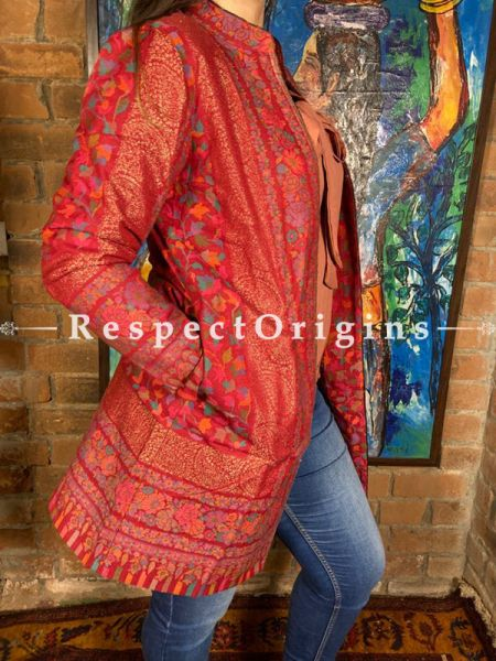 Marvellous Red Floral Design Formal Ladies Designer Detailing Jamavar Jacket in Cotton Silk Blend; Silken Lining; RespectOrigins.com