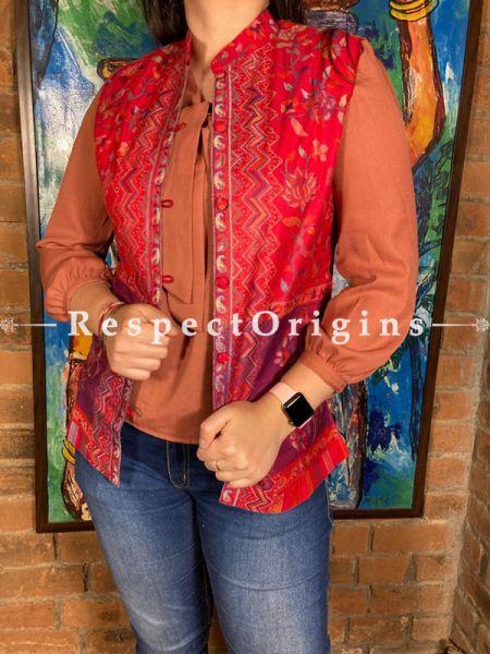 Beauteous Floral Design Formal Ladies Designer Detailing Jamavar Red Jacket in cotton silk Blend; Silken Lining; RespectOrigins.com