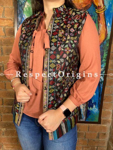 Classy Blue Floral Design Formal Ladies Designer Detailing Jamavar Jacket in Cotton Silk Blend; Silken Lining; RespectOrigins.com