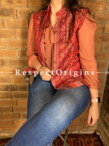 Charming Floral Design Formal Ladies Designer Detailing Jamavar Red Jacket in Cotton Silk Blend; Silken Lining; RespectOrigins.com