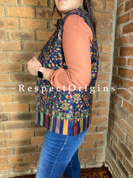 Charming Floral Design Formal Ladies Designer Detailing Jamavar Violet Jacket in Cotton Silk Blend; Silken Lining; RespectOrigins.com