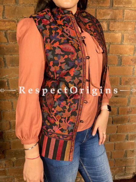 Charming Floral Design Formal Ladies Designer Detailing Jamavar Black Jacket in Cotton Silk Blend; Silken Lining; RespectOrigins.com