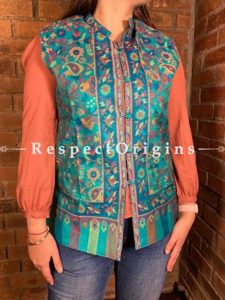 Glamorous Floral Design Formal Ladies Designer Detailing Jamavar Blue Jacket in Cotton Silk Blend; Silken Lining; RespectOrigins.com