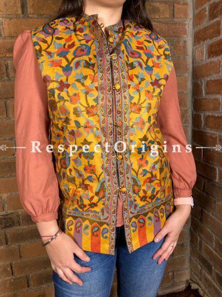 Glamorous Floral Design Formal Ladies Designer Detailing Jamavar Yellow Jacket in Cotton Silk Blend; Silken Lining; RespectOrigins.com