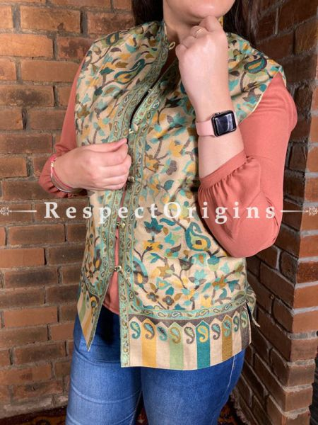 Glamorous Floral Design Formal Ladies Designer Detailing Jamavar Cream Jacket in Cotton Silk Blend; Silken Lining; RespectOrigins.com