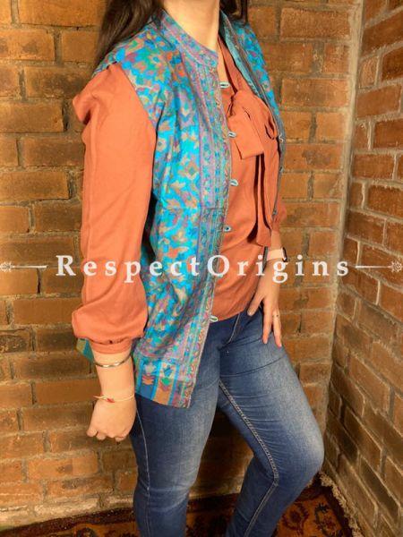Charismatic Floral Design Formal Ladies Designer Detailing Jamavar Blue Jacket in Cotton Silk Blend; Silken Lining; RespectOrigins.com