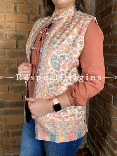 Charismatic Floral Design Formal Ladies Designer Detailing Jamavar Cream Jacket in Cotton Silk Blend; Silken Lining; RespectOrigins.com