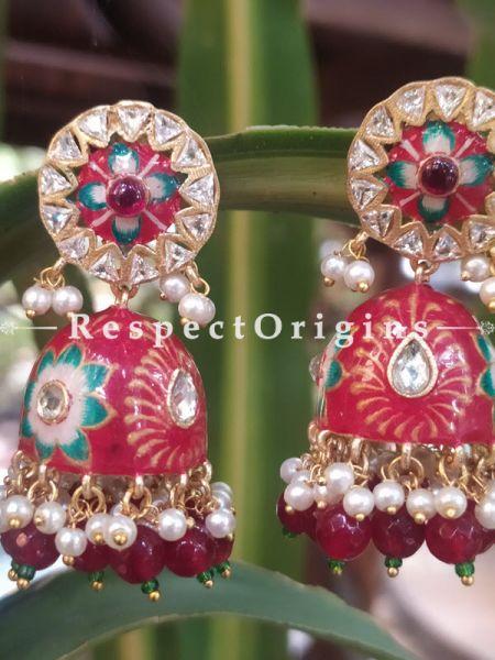 Elle Meenakari Enamel Kundan Jhumki Ear-rings with Delicate Pearly Bead Drops. RespectOrigins.Com