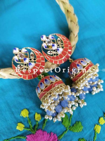 Coral Red Meenakari Enamel Chand- Crescent Jhumki Ear-rings; RespectOrigins.Com