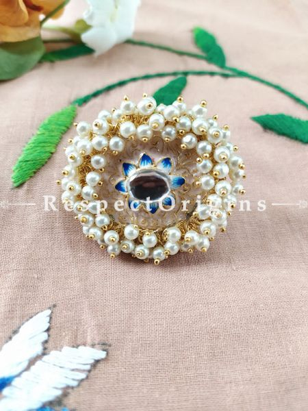 Two-toned Rose Gold Colour with Kundan and Pearl White Meenakari Enamel Adjustable Finger Ring. RespectOrigins.Com
