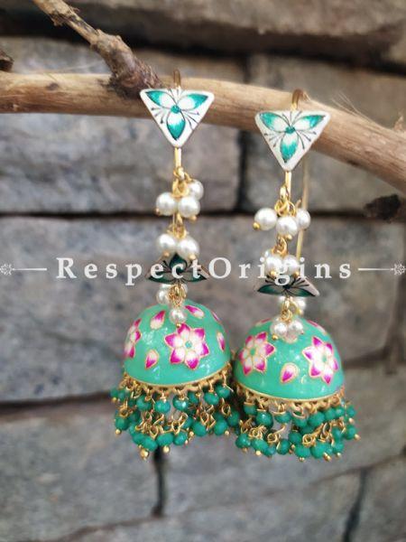 Fiona Meenakari Enamel Kundan Loop Chandelier Jhumki Ear-rings with Delicate Pearly Bead Drops. RespectOrigins.Com