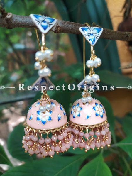 Noori Meenakari Enamel Kundan Loop Chandelier Jhumki Ear-rings with Delicate Pearly Bead Drops. RespectOrigins.Com