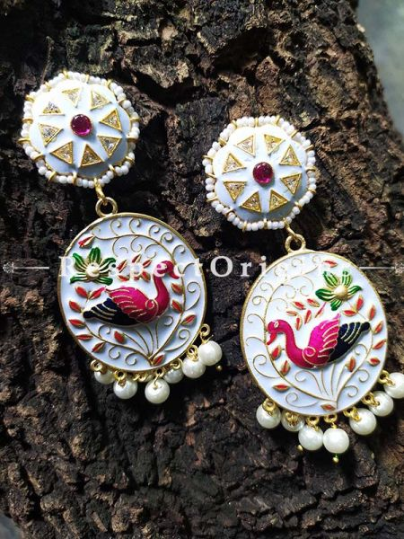 White Meenakari Enamel Jhumki Ear-rings with Peacock Motifs; RespectOrigins.Com