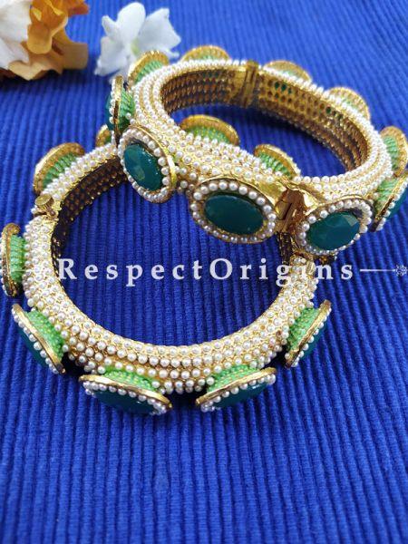 Blissful Emerald Coloured Green Stone and Pearl White Jadau Kangan Bangles Pair; Screw Pech Closure. RespectOrigins.Com