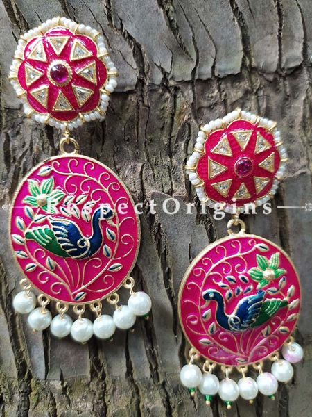 Magenta Meenakari Enamel Jhumki Ear-rings with Peacock Motifs; RespectOrigins.Com