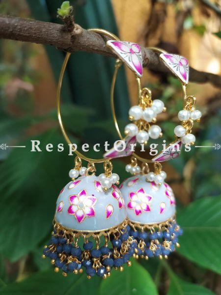 Ekatarina Meenakari Enamel Kundan Loop Chandelier Jhumki Ear-rings with Delicate Pearly Bead Drops. RespectOrigins.Com