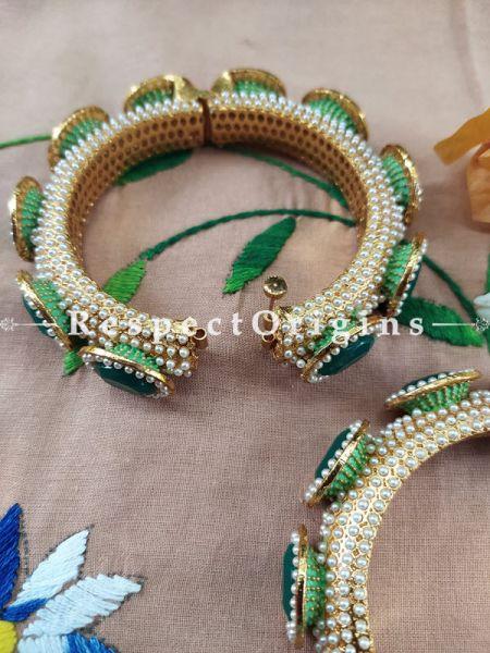 Emerald Green Stone and Pearl White Jadau Kangan Bangles Pair; Screw Pech Closure; RespectOrigins.Com