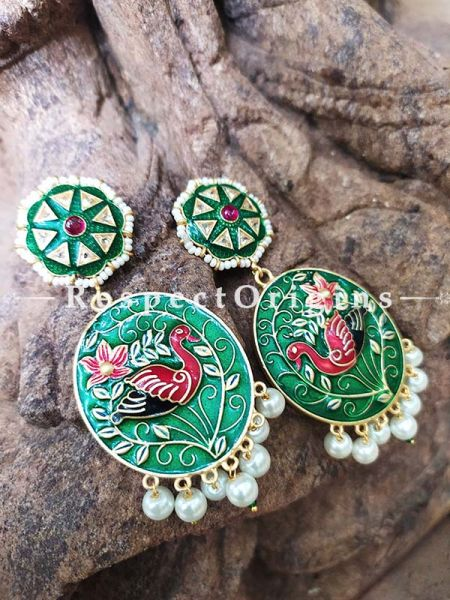 Green Meenakari Enamel Jhumki Ear-rings with Peacock Motifs; RespectOrigins.Com
