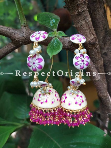 Zara Meenakari Enamel Kundan Loop Chandelier Jhumki Ear-rings with Delicate Pearly Bead Drops. RespectOrigins.Com