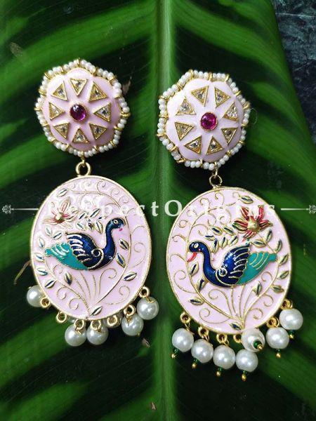 Rose Pink Meenakari Enamel Jhumki Ear-rings with Peacock Motifs; RespectOrigins.Com