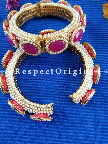 Ruby Red Stone and Pearl White Jadau Kangan Bangles Pair; Screw Pech Closure; RespectOrigins.Com