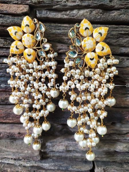 Yellow Gold Toned Meenakari Chandelier Style Ear-rings with Pearly Strands; RespectOrigins.Com
