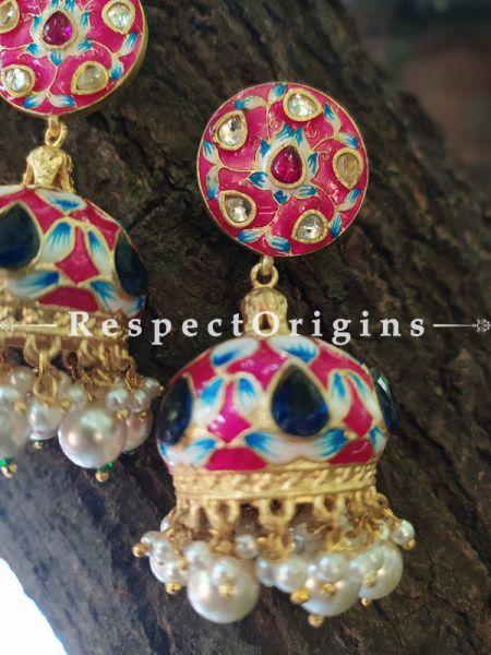 Red Meenakari Enamel Kundan Work Jhumki Ear-rings; RespectOrigins.Com