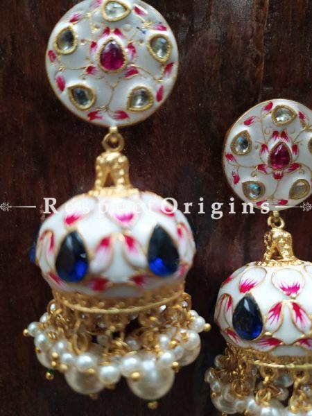 Mint Meenakari Enamel Kundan Work Jhumki Ear-rings. RespectOrigins.Com
