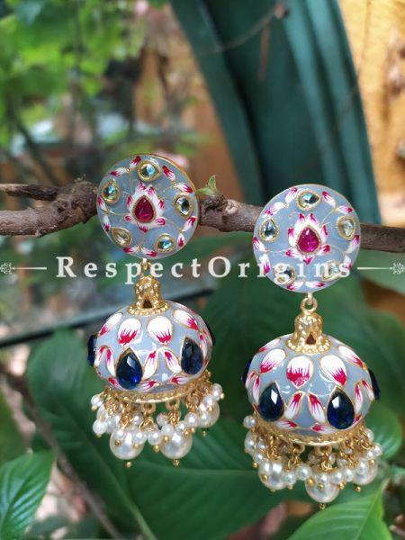 Cornflower Blue Meenakari Enamel Kundan Work Jhumki Ear-rings. RespectOrigins.Com