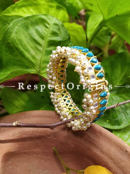 Turquoise Blue and Pearl White Jadau Stones Meenakari Enamel Kangan Bangles Pair; Screw Pech Closure; RespectOrigins.Com