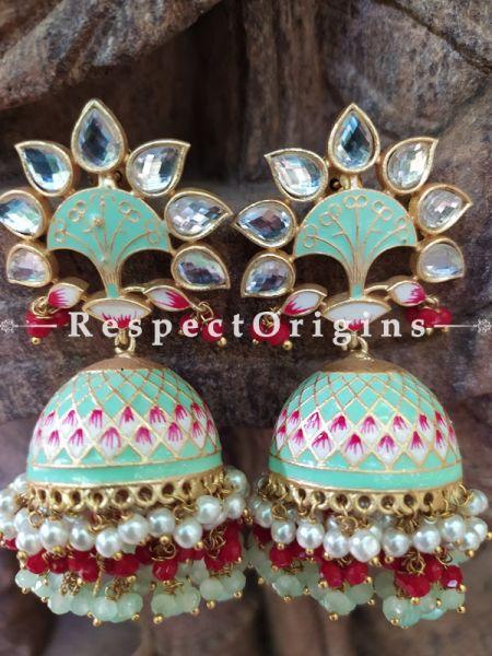 Myra Pistachio Green Meenakari Enamel Kundan Jhumki Ear-rings with Delicate Pearly Bead Drops RespectOrigins.Com.