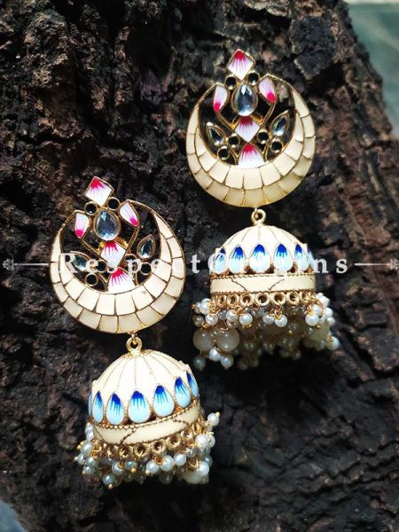 Ivory Meenakari Enamel Chand- Crescent Jhumki Ear-rings; RespectOrigins.Com