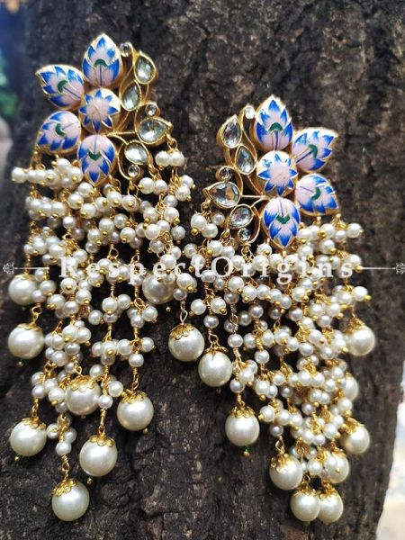 Blue Gold Toned Meenakari Chandelier Style Ear-rings with Pearly Strands; RespectOrigins.Com