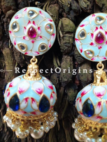 Soft Blue Meenakari Enamel Kundan Work Jhumki Ear-rings. RespectOrigins.Com