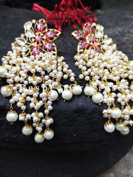 Red Gold Toned Meenakari Chandelier Style Ear-rings with Pearly Strands; RespectOrigins.Com