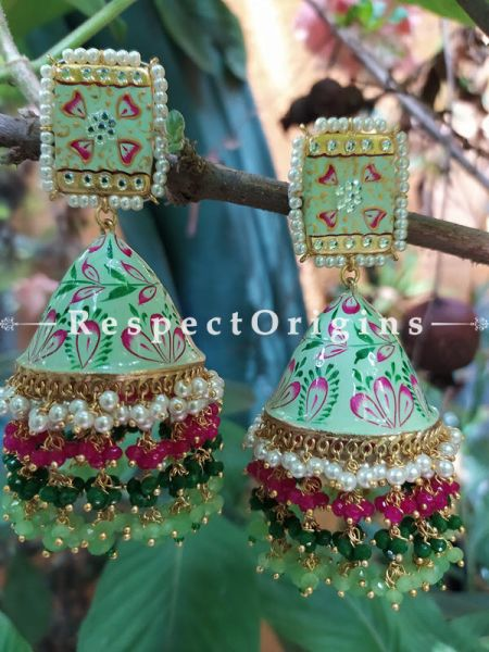 Elizabeth Pistachio Green Meenakari Enamel Kundan Jhumki with Pearl Moti Kaam Ear-rings with Delicate Pearly Bead Drops. RespectOrigins.Com