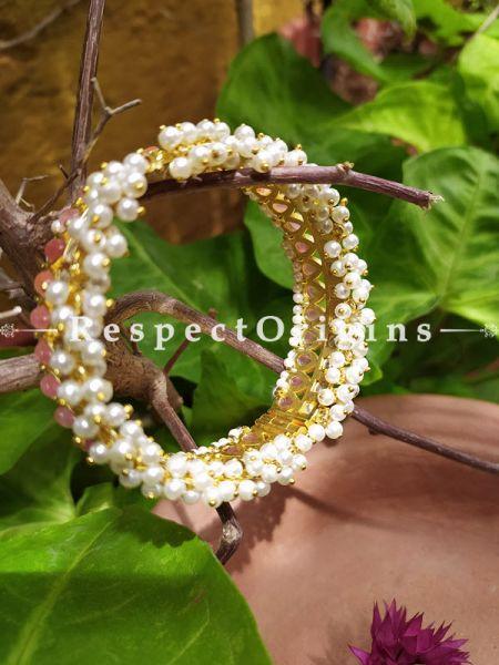 Rose Pink and Pearl White Jadau Stones Meenakari Enamel Kangan Bangles Pair; Screw Pech Closure; RespectOrigins.Com