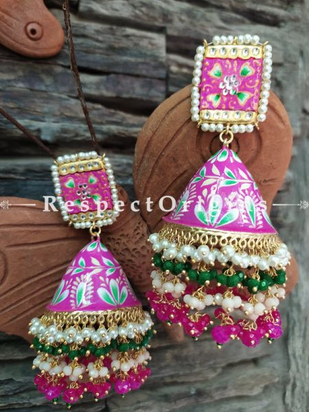 Khushi Rani Pink Meenakari Enamel Kundan Jhumki with Pearl Moti Kaam Ear-rings with Delicate Pearly Bead Drops. RespectOrigins.Com