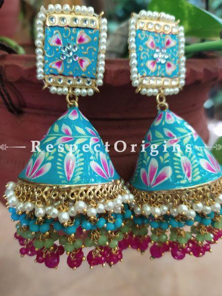 Chalize Ocean Blue Meenakari Enamel Kundan Jhumki with Pearl Moti Kaam Ear-rings with Delicate Pearly Bead Drops. RespectOrigins.Com