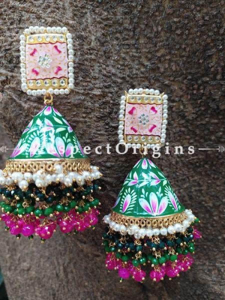 Inaya Soft Pink and Green Meenakari Enamel Kundan Jhumki with Pearl Moti Kaam Ear-rings with Delicate Pearly Bead Drops. RespectOrigins.Com